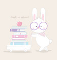 back to school card cute bunny hand drawn style vector image