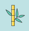 bamboo with leaves icon filled outline vector image