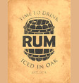 banner on a theme iced in oak rum vector image