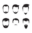 bearded men faces icon vector image vector image