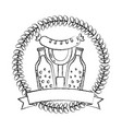 beer bottles and sausage with fork emblem vector image vector image
