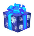 blue gift box with a bow with wrapped paper vector image vector image