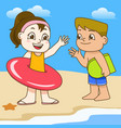 boy and girl with swimming circle on beach vector image vector image