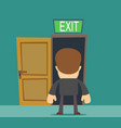 businessman standing in front of closed doors vector image