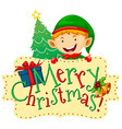 Christmas theme with elf and christmas tree vector image vector image