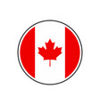 circle canada flag with icon isolated on white vector image vector image