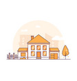 cottage house - modern thin line design style vector image