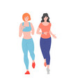cute female friends characters in sportswear vector image