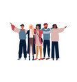 diverse young people friend group hugging isolated vector image vector image