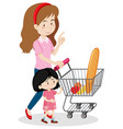girl and mother shopping for food vector image