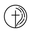hand drawn christian cross sign round religion vector image vector image