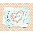 love you words and heart symbol painted with red vector image vector image