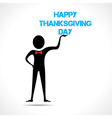 Man holding happy thanksgiving day text vector image