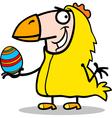 man in easter chicken costume cartoon vector image vector image