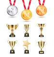 medals for competition golden cups and awards set vector image