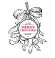 Mistletoe with bow and ribbon Christmas card with vector image vector image
