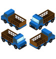 pick up truck in blue color vector image