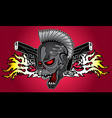 punk cyber robot skull glock pistols fire flames vector image vector image