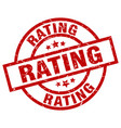 rating round red grunge stamp vector image vector image