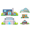 real estate house building and home icons vector image vector image