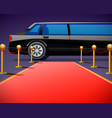 red event carpet isolated on a black background vector image