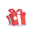 red gift box and label cartoon icon flat design vector image