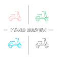 scooter side view hand drawn icons set vector image