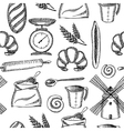 Seamless bakery pattern vector image