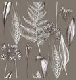 seamless pattern autumn plants pattern vector image