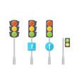 set of traffic lights vector image vector image