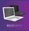 two leptop white and black at violet background vector image vector image