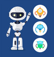 white cyborg with raising hand poster vector image vector image