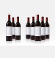 wine bottle mockup realistic blurred 3d glass vector image