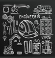 chalkboard sketch icons engineer drawing style set vector image