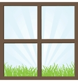 Summer field and mountains seen through the window vector image