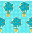 Seamless pattern of small tangerine tree in a pot vector image