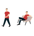 set of male characters in casual clothes vector image