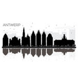 antwerp belgium city skyline black and white vector image vector image
