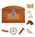 attributes of the wild west cartoon icons in set vector image vector image