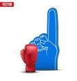Boxing Sports Fan Foam Fingers and gloves vector image vector image