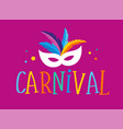 brazilian carnival banner with colorful mask vector image vector image