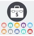 Briefcase flat single icon vector image
