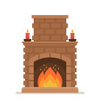 burning brick fireplace with fire classic indoor vector image
