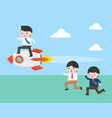 business man riding on rocket let another person vector image