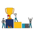 business people trophy books flag vector image vector image
