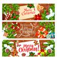 christmas card of new year holiday gift xmas tree vector image vector image