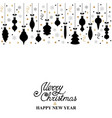 christmas card with hanging decorations with vector image vector image