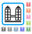 company building framed icon vector image vector image