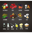 cooking ingredients isolated colors icons set vector image vector image