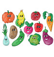 funny various cartoon vegetables vector image